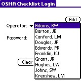 OSHA Checklist : Operator Login screen